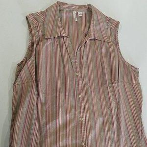 St. John's Bay Tops - Sleeveless Earth tone brown vneck 1X button shirt